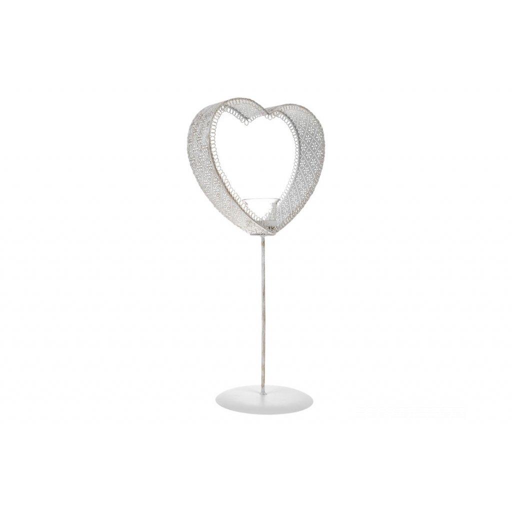 Svietnik kovový v tvare srdca Na čajovou sviečku biely 23x15x49CM