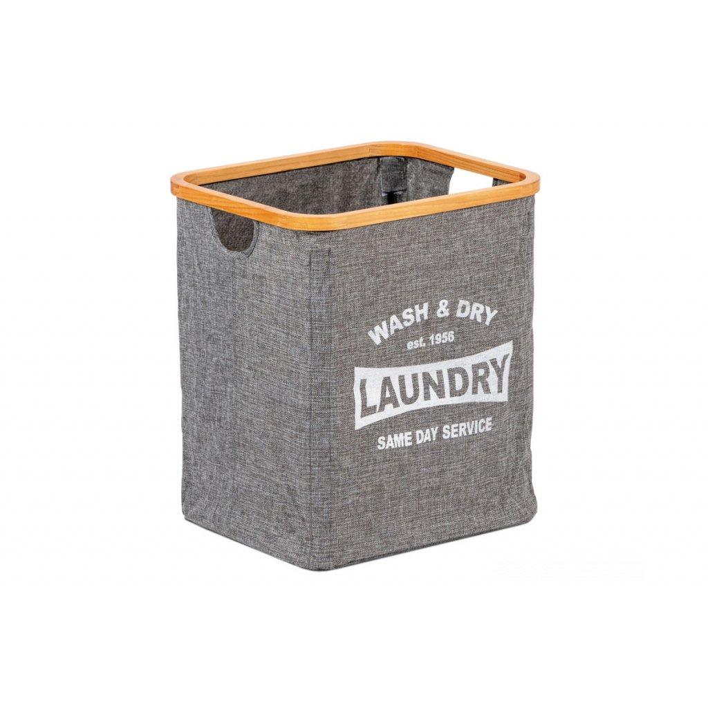 Kôš na prádlo z textilu s drevom, farba šedá 40x33x45cm