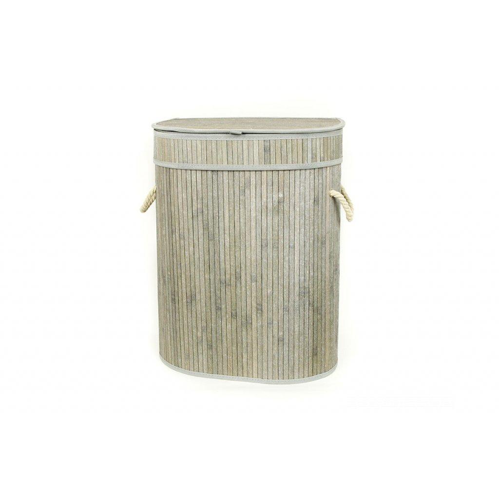 Kôš na prádlo z bambusu šedobiely oválny 42x54x30 cm