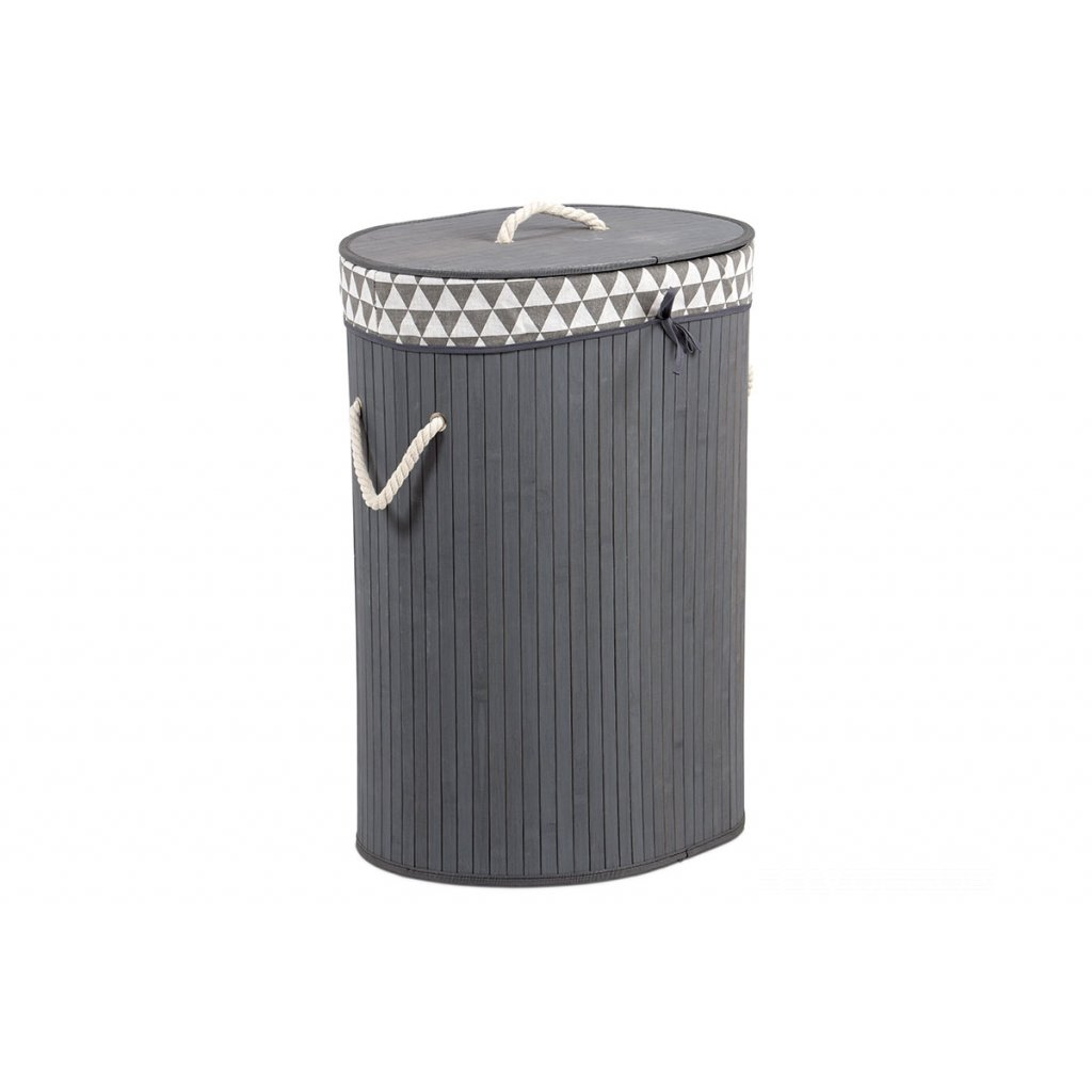 Kôš na prádlo z bambusu, ovál, farba šedá 44x61x34cm