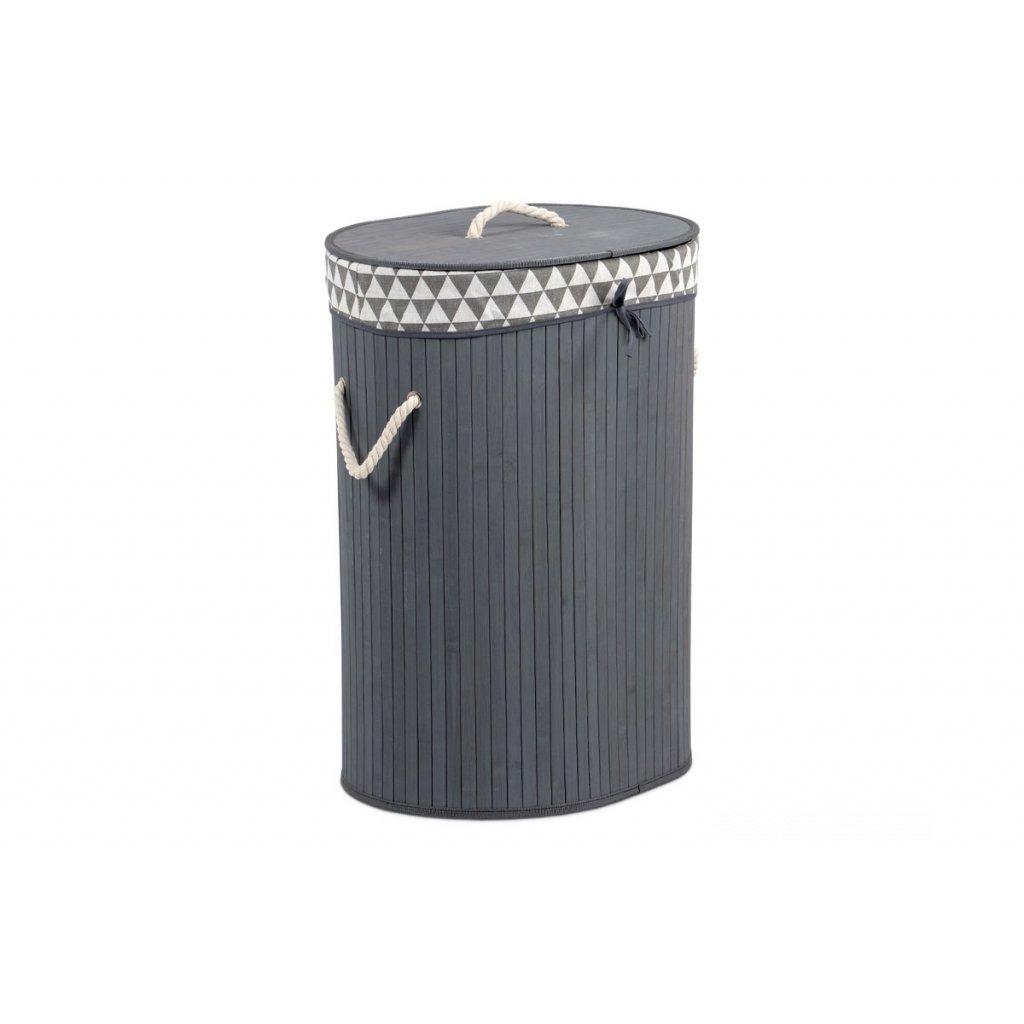 Kôš na prádlo z bambusu, ovál, farba šedá 38x51x28cm