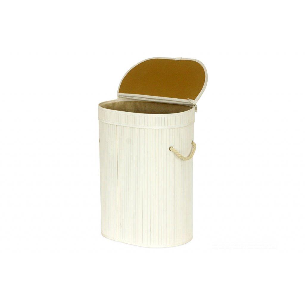 Kôš na prádlo z bambusu,, ovál, farba šedobiela, 42x54x30cm
