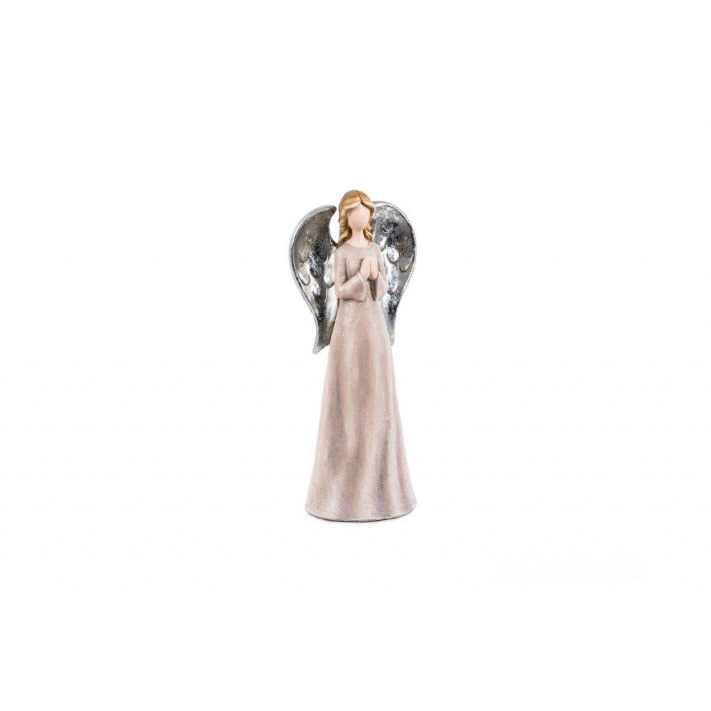 Anjel, ružová farba, polyresin 11x7,5x26cm