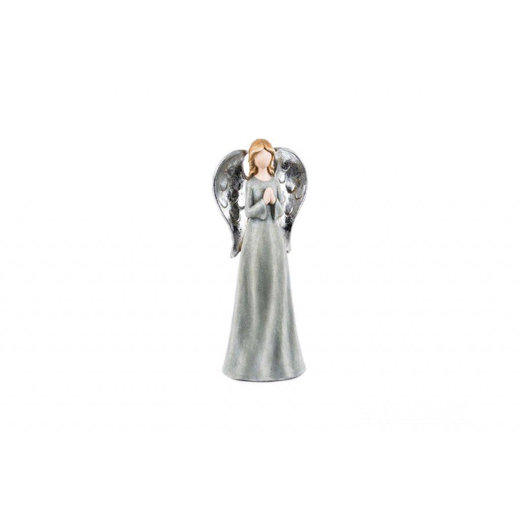 Anjel  šedý  magneziová keramika 14,5x13,5x35cm