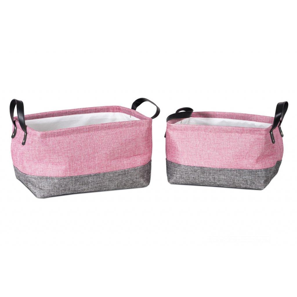 Košík látkový, rúžový sada 2ks 35x25x25,30x20x20cm