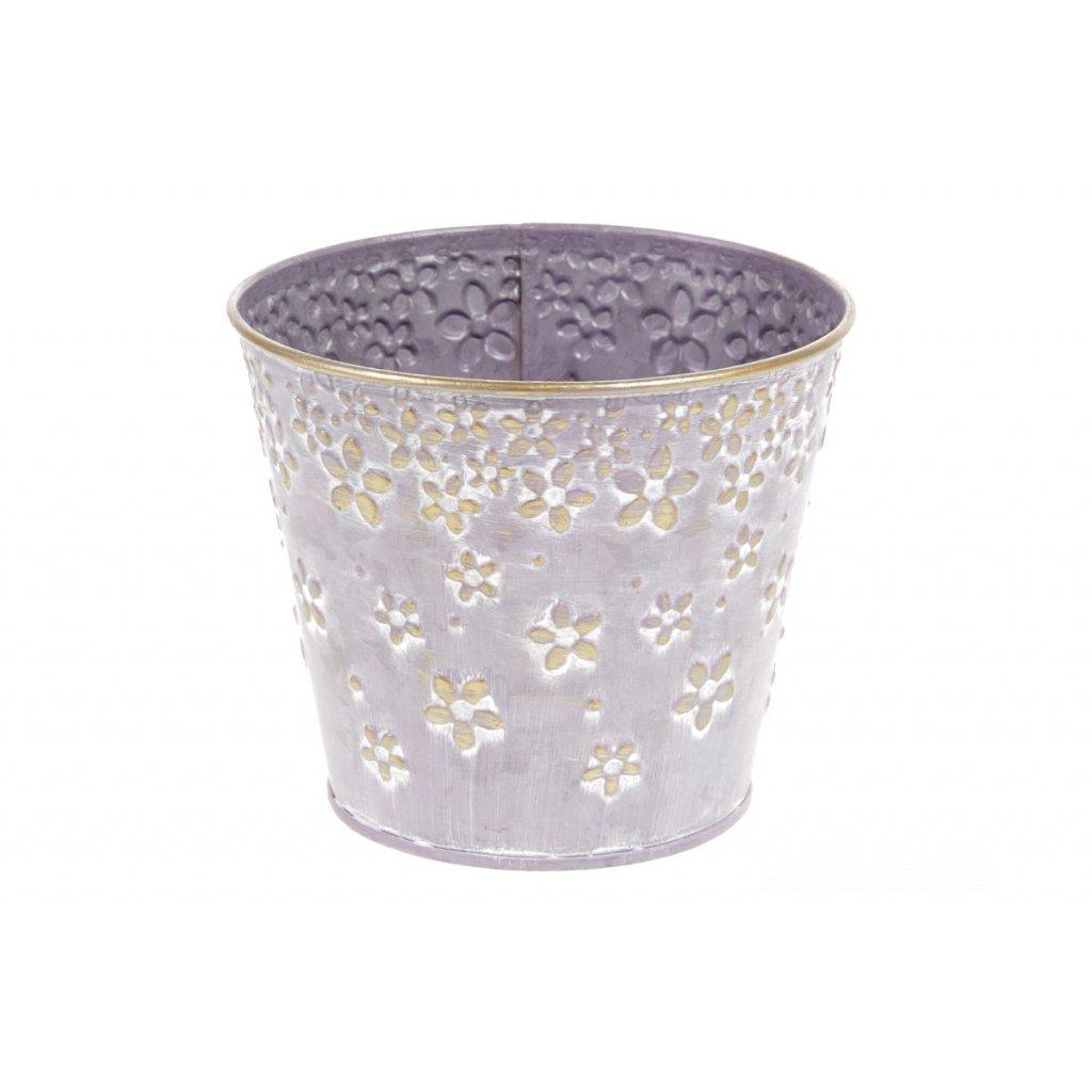 Obal z kovu na kvety farba fialova s dekórom kvietkov 12,5 x11cm
