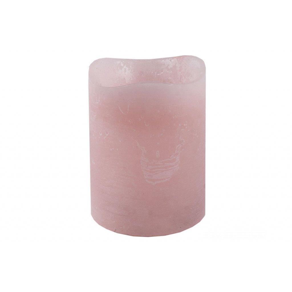 Svietnik z plastu v tvare sviečky s LED svetlom, farba ružová vosková pr.8x10cm