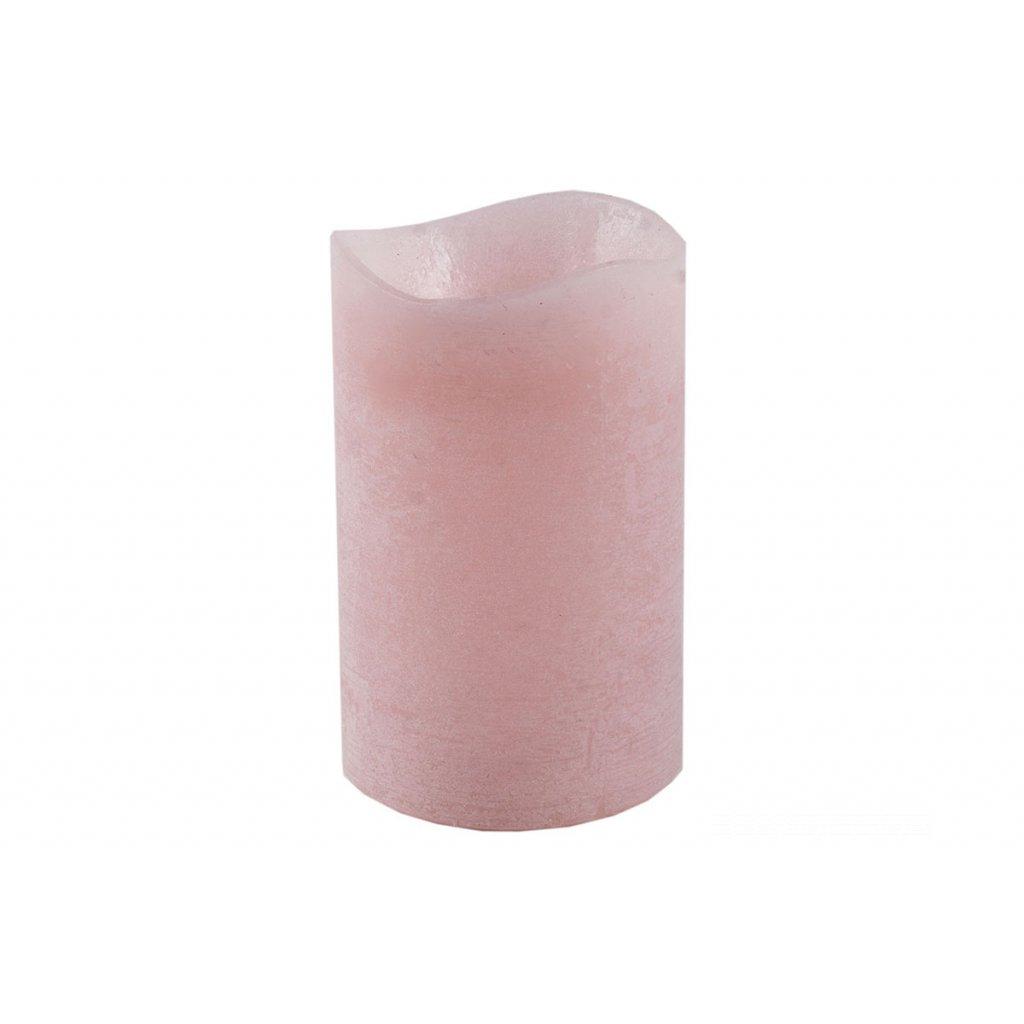 Svietnik z plastu v tvare sviečky s LED svetlom, farba ružová vosková pr.8x12cm