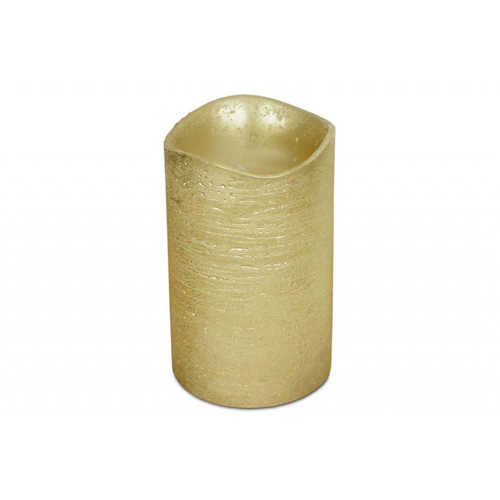 Svietnik z plastu v tvare sviečky s LED svetlom, farba zlatá metalická vosková pr.8x12cm