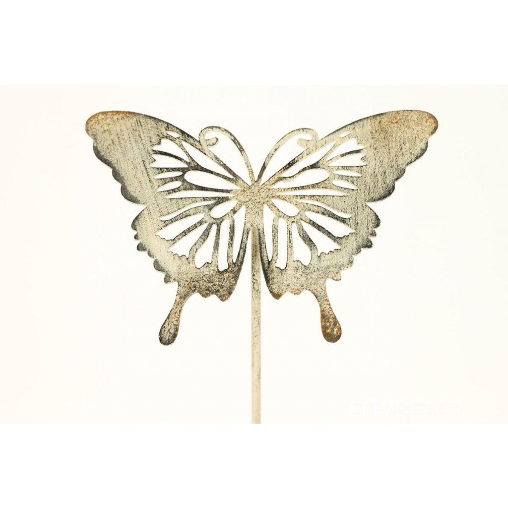 Motýl, zápich, kovová dekoracia