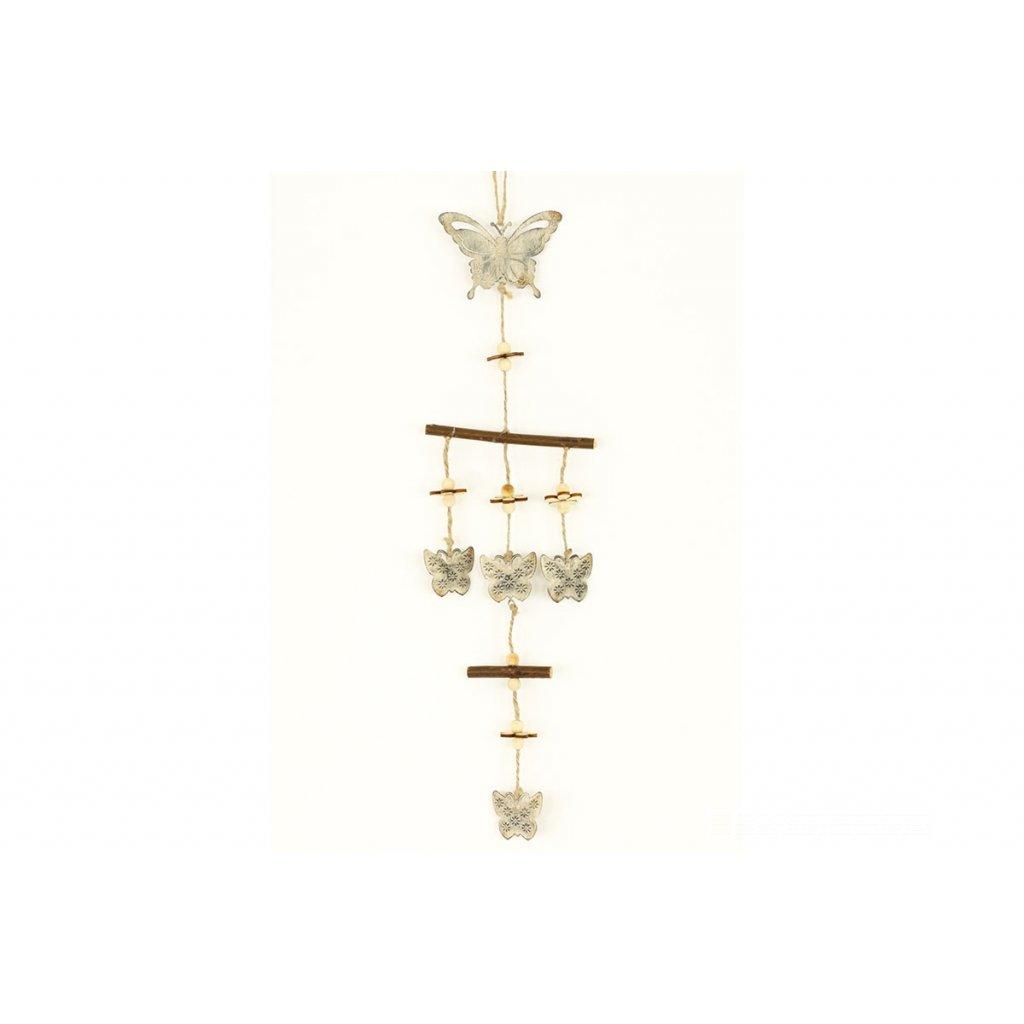Motýľ kovová dekorácia na zavesenie 55x12x0.8cm