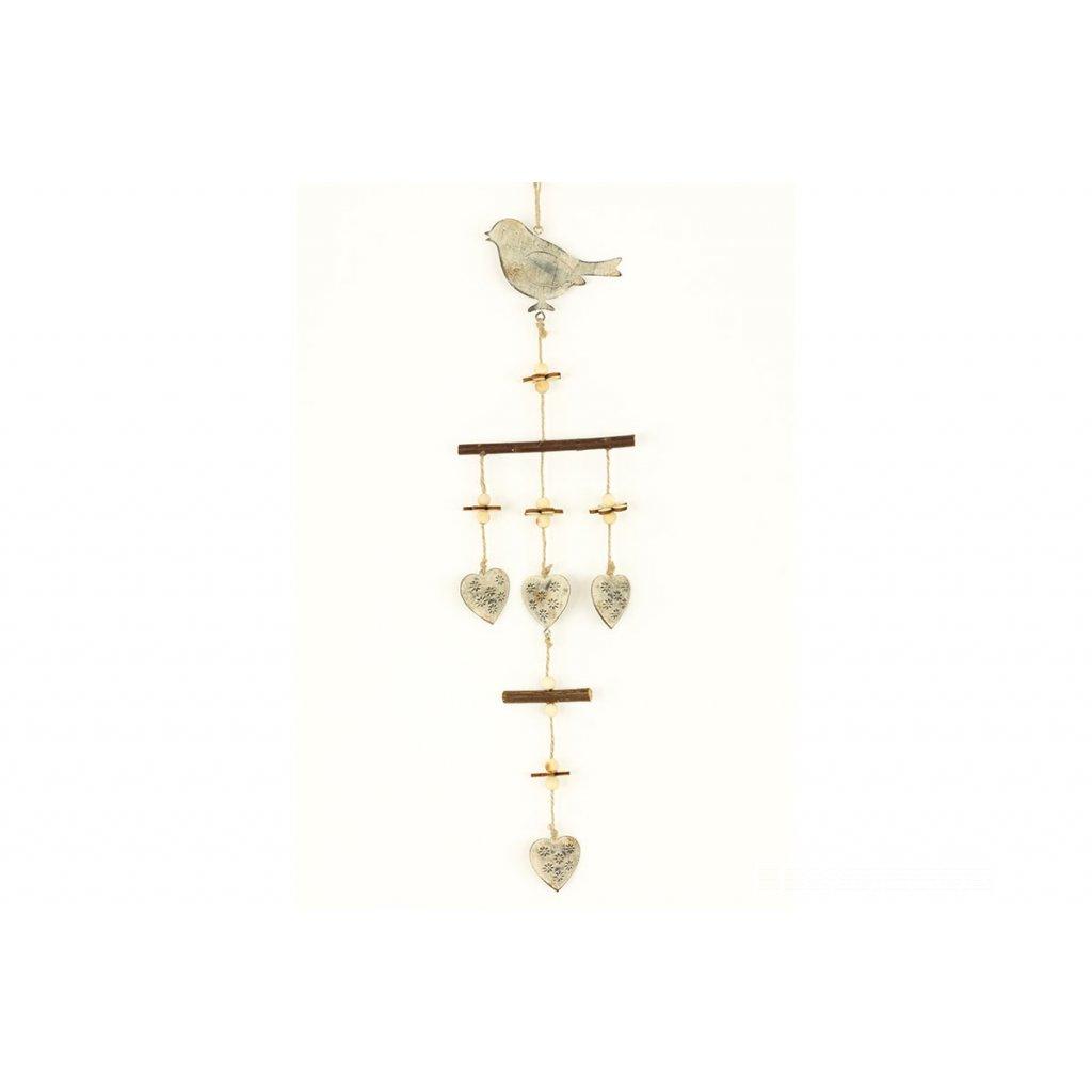 Vtáčik  kovová dekorácia na zavesenie 55x12x1,3cm