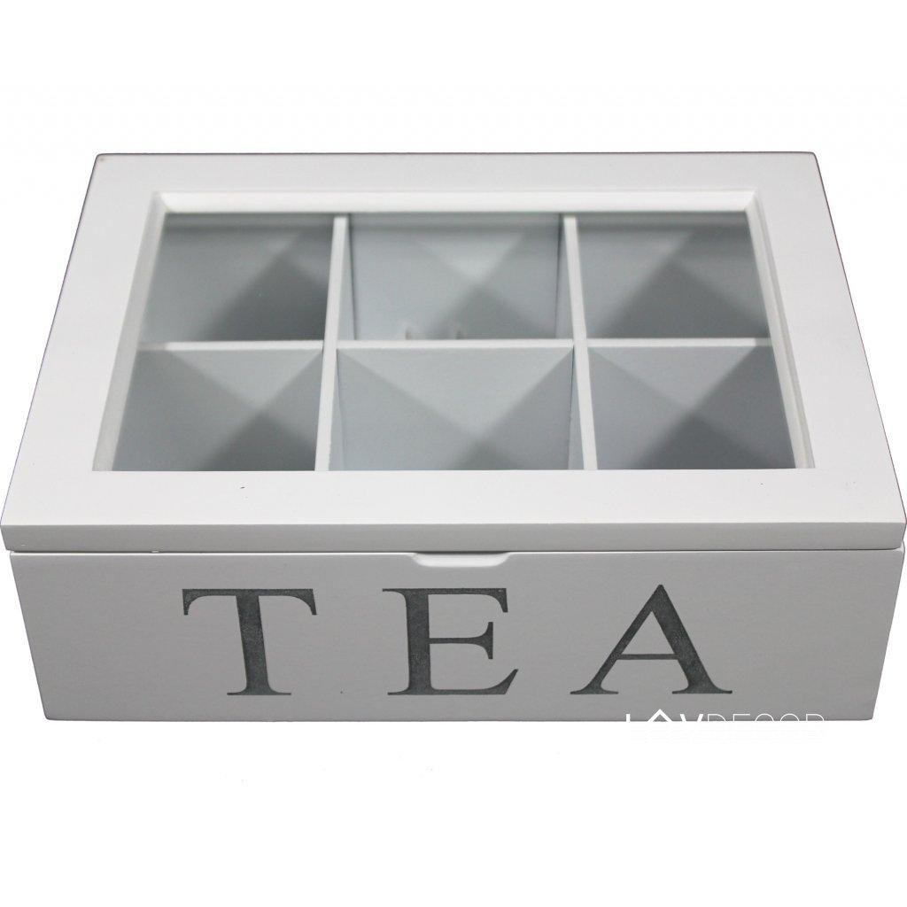 Krabička na čaj drevená biela 8x24x18cm 86625