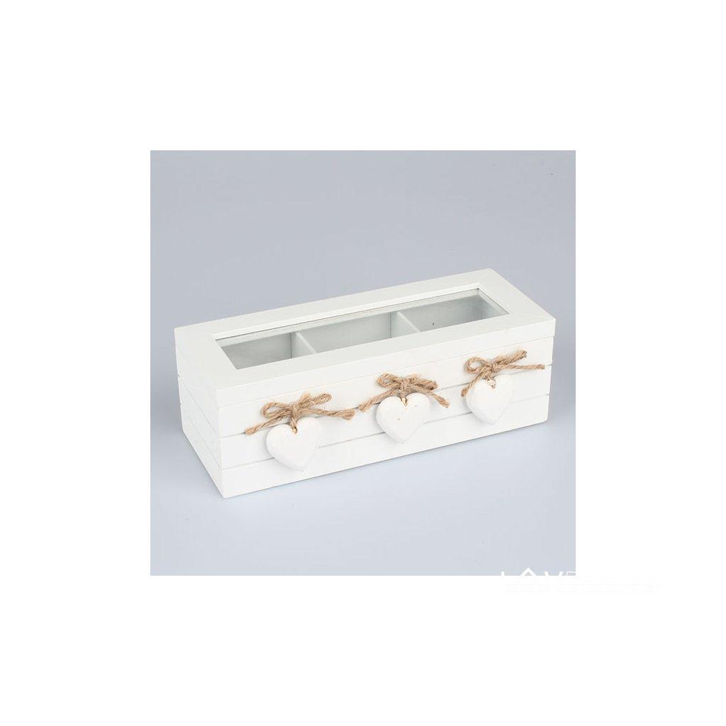 DREVENÁ KRABIČKA NA ČAJ so srdiečkami biela 23×10×7,5cm