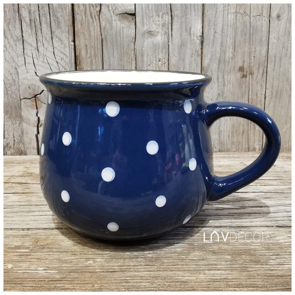 keramický hrnček modrý s bielymi bodkami 770ml