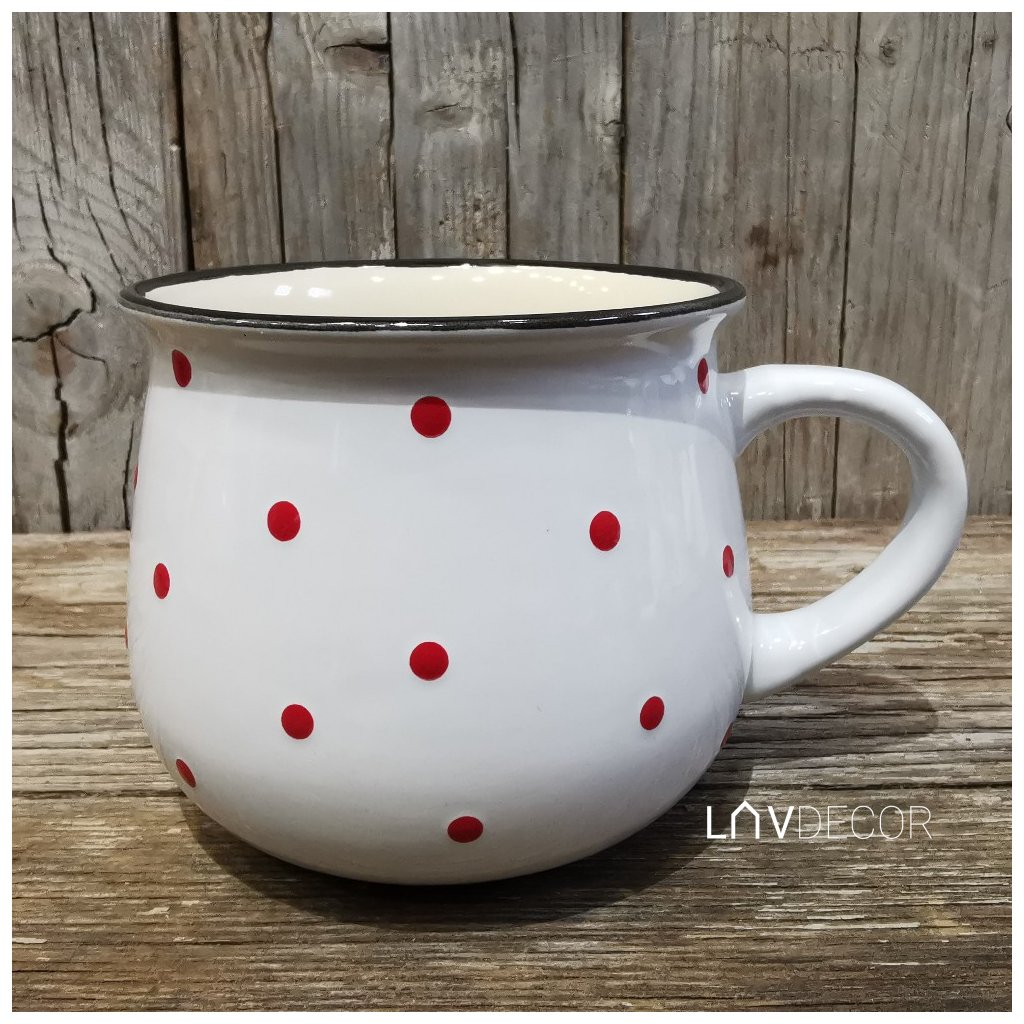 keramický hrnček biely s červenými bodkami 770ml