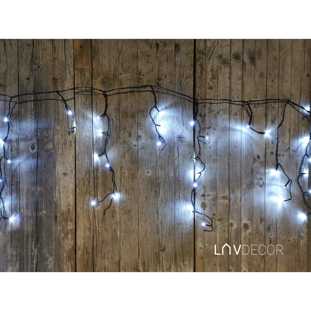 vianočné osvetlenie padajúci dážď  chladná biela/180/ W,INT/OUT 6m