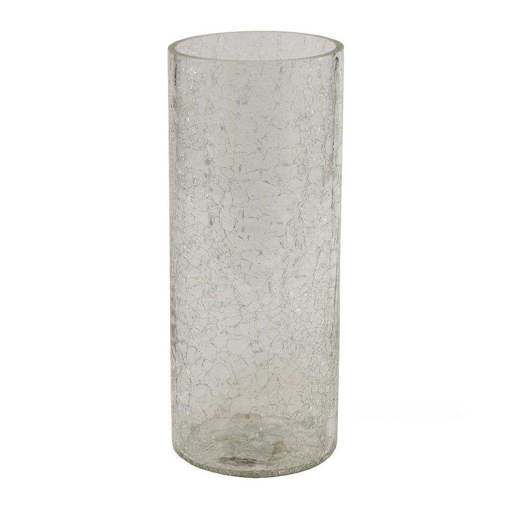 VÁZA SKLO VALEC dekor Popraskané sklo 12*V30CM