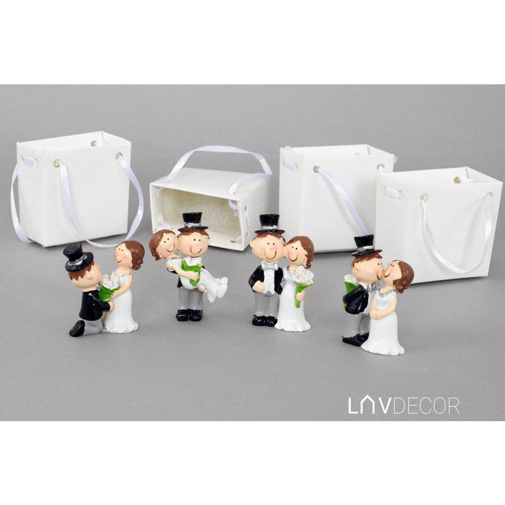 Nevesta a ženích v papierovej krabičke, dekorácia z polystounu, box 12 kusov, cena za 1 pár