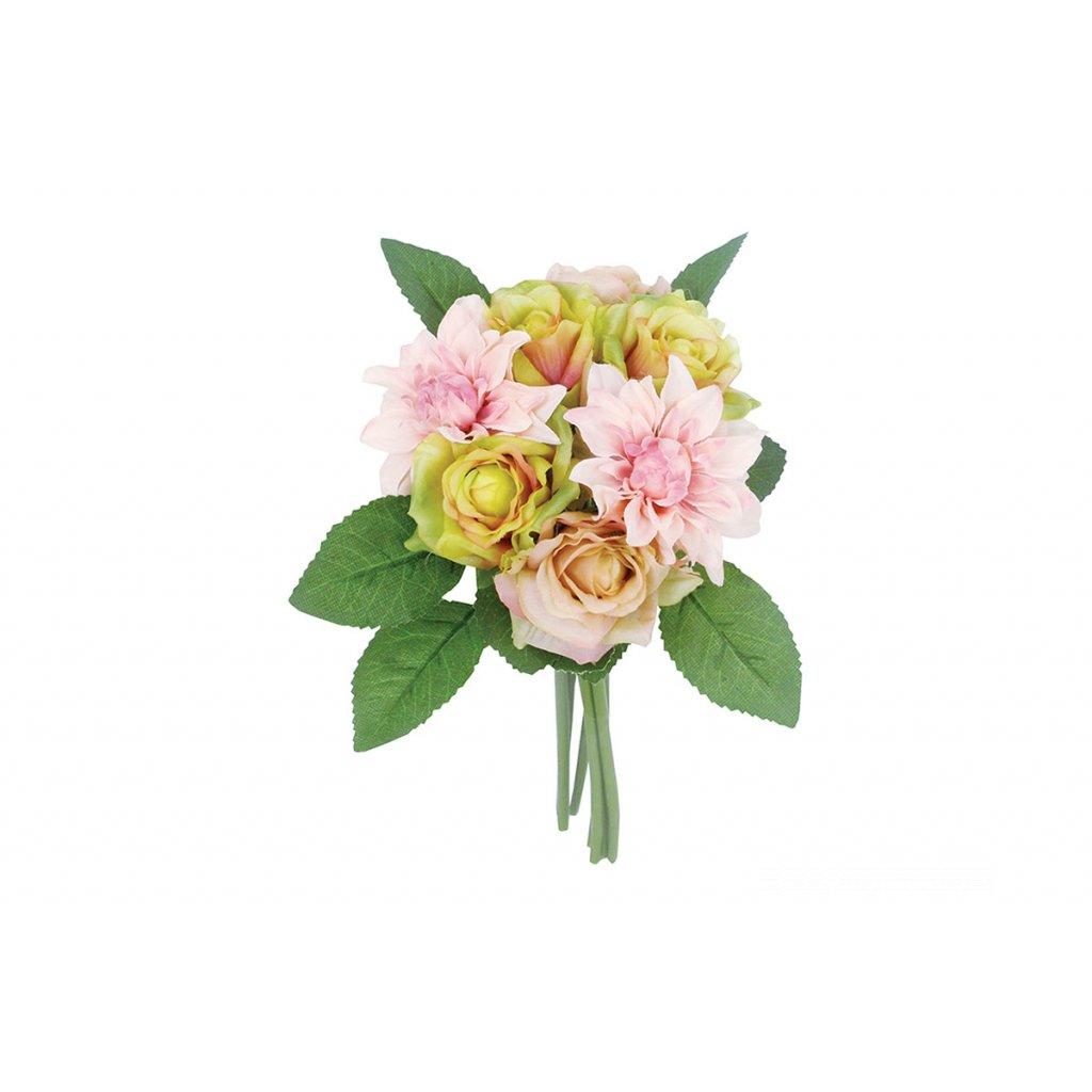 Kytica ruží  ružová umelá 28cm