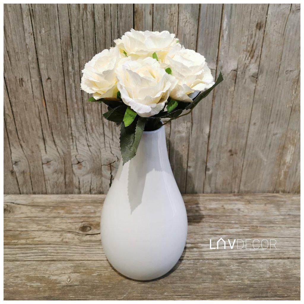 Kytica ruží - vzhľad sušených ruží krémova 17x30x18cm