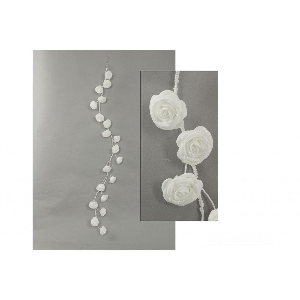 Girlanda z penových ružičiek, farba biela, 98 cm