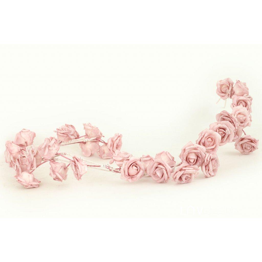 Girlanda z penových ružičiek, farba ružová, 98 cm