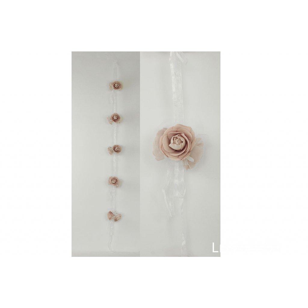 Girlanda z penových ružičiek na stuhe, farba ružová 10x10x6 cm dĺžka 140 cm