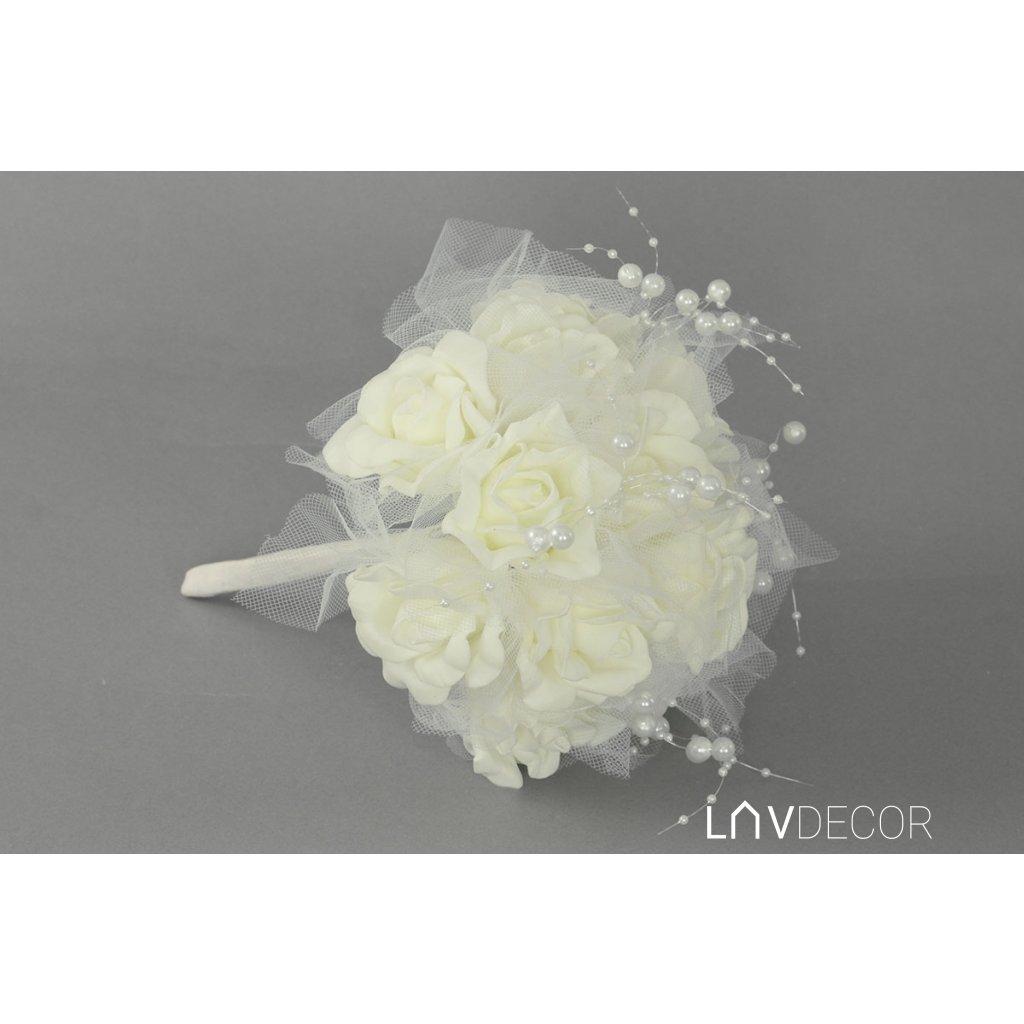 Guľa z penových ružičiek do ruky, farba biela 19x25x19cm
