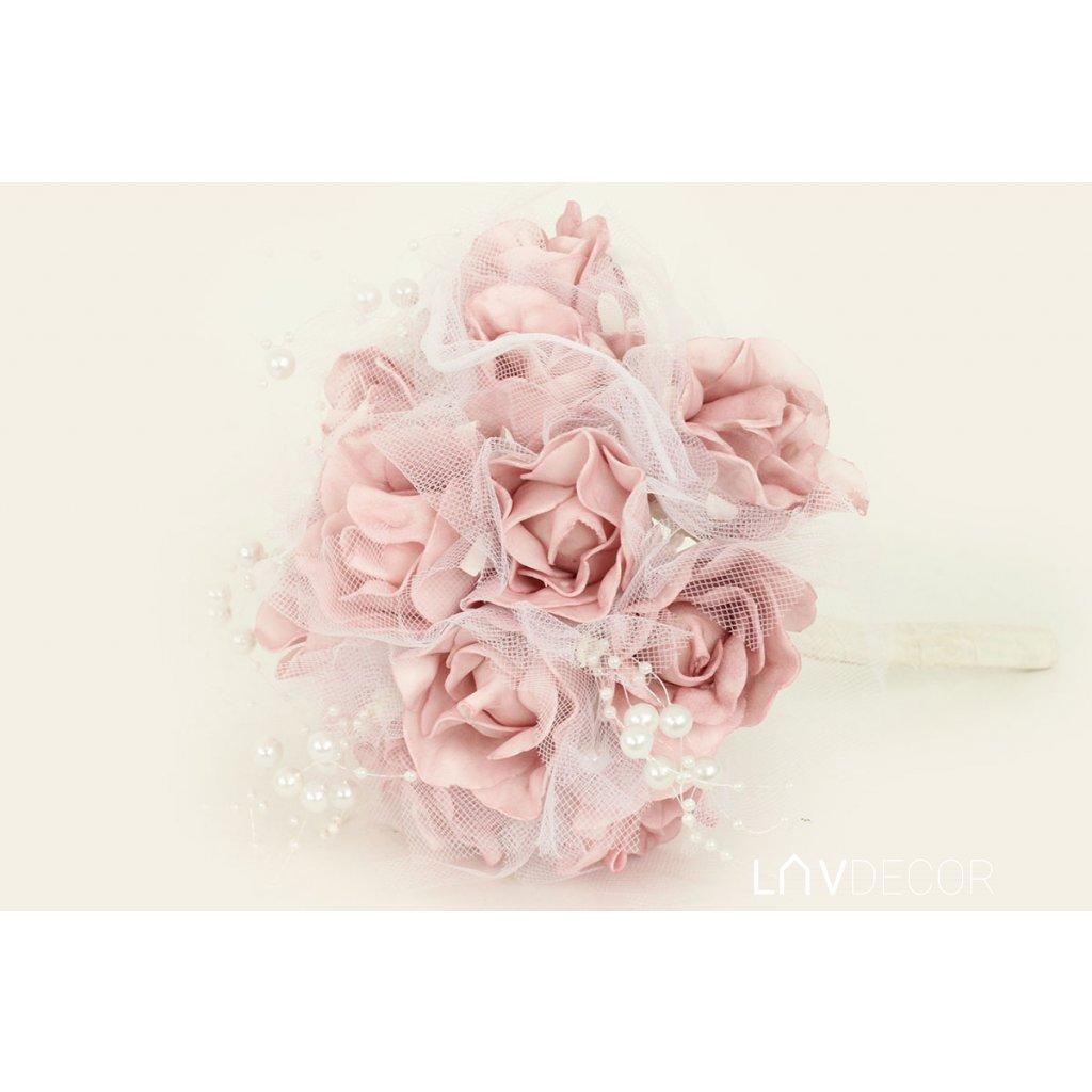 Guľa z penových ružičiek do ruky, farba ružová 19x25x19cm