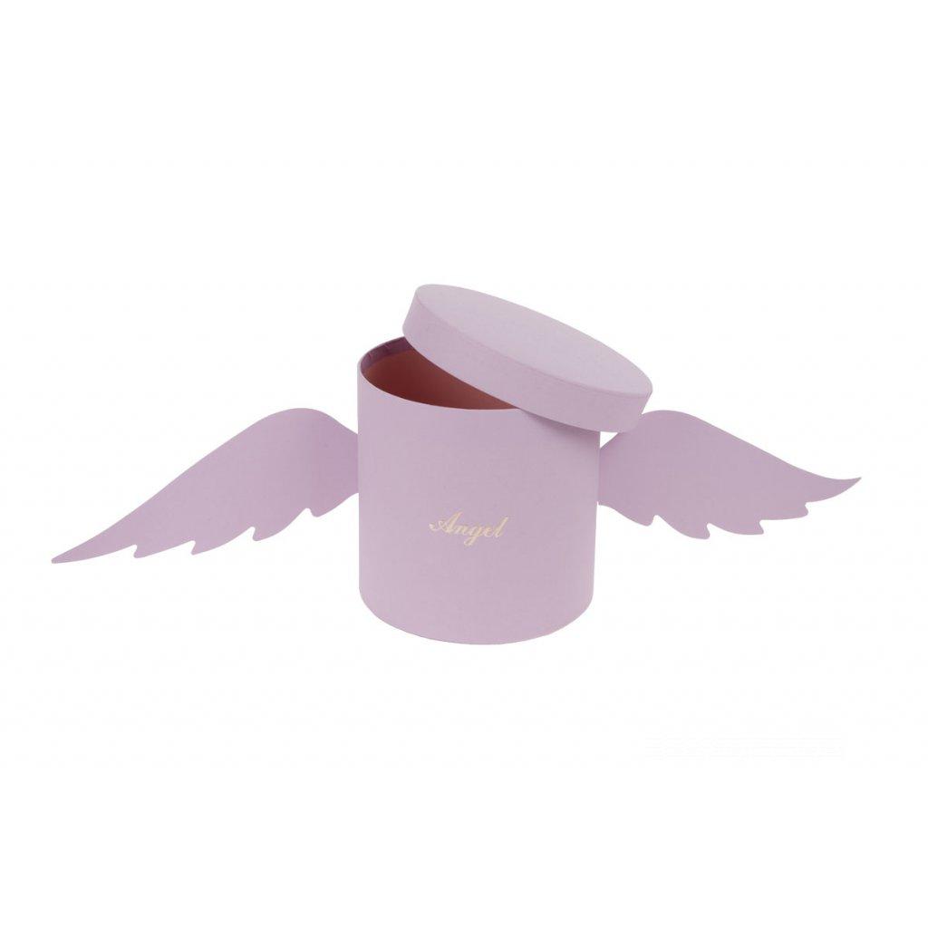 Kvetinový papierový box s krídlami Angel farba fialová 18x18cm