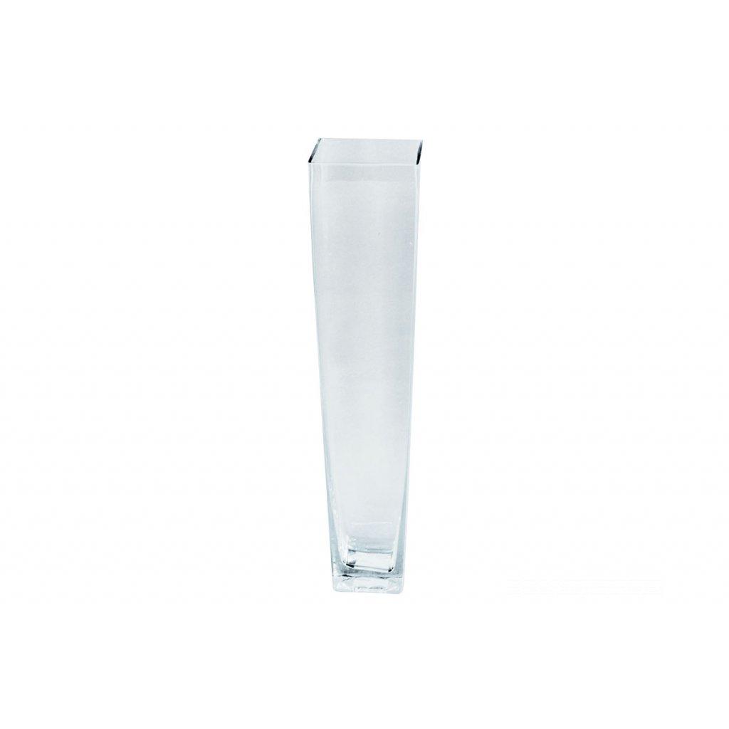 Váza sklenená číra štvorcová zúžená 20x28x12,5cm