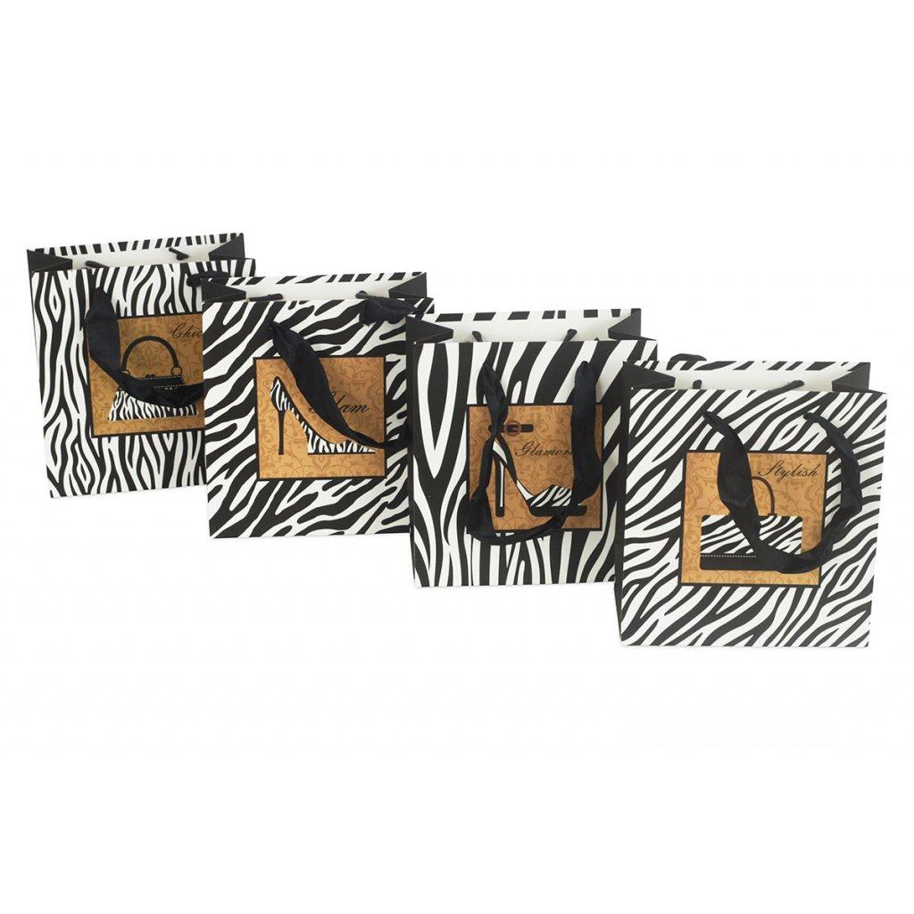 Papierová taška, mix 4 druhov cena za 1 kus 14x7x15 cm