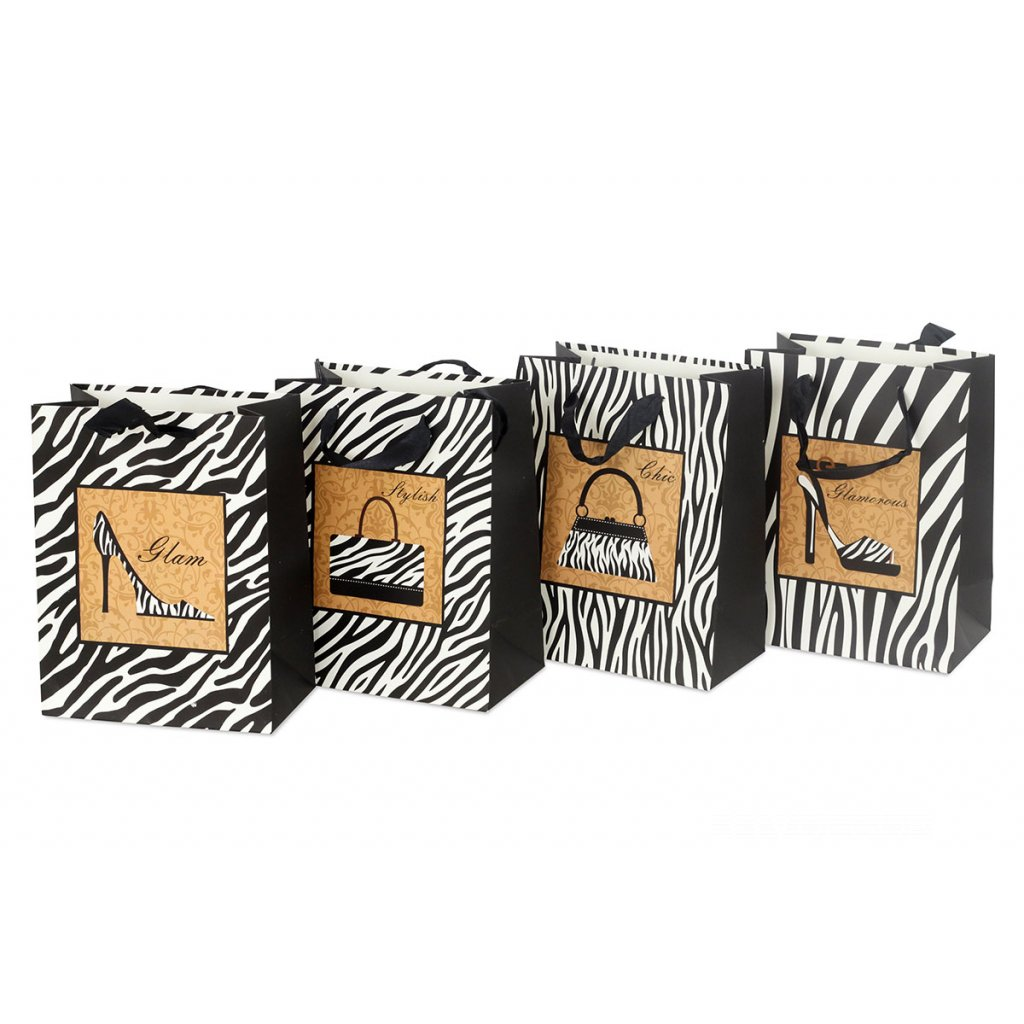 Papierová taška, mix 4 druhov cena za 1 kus 26x12x32cm