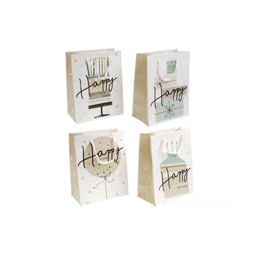 Taška darčeková papierová, mix 4 vzory, cena za 1 kus 18x10x23cm