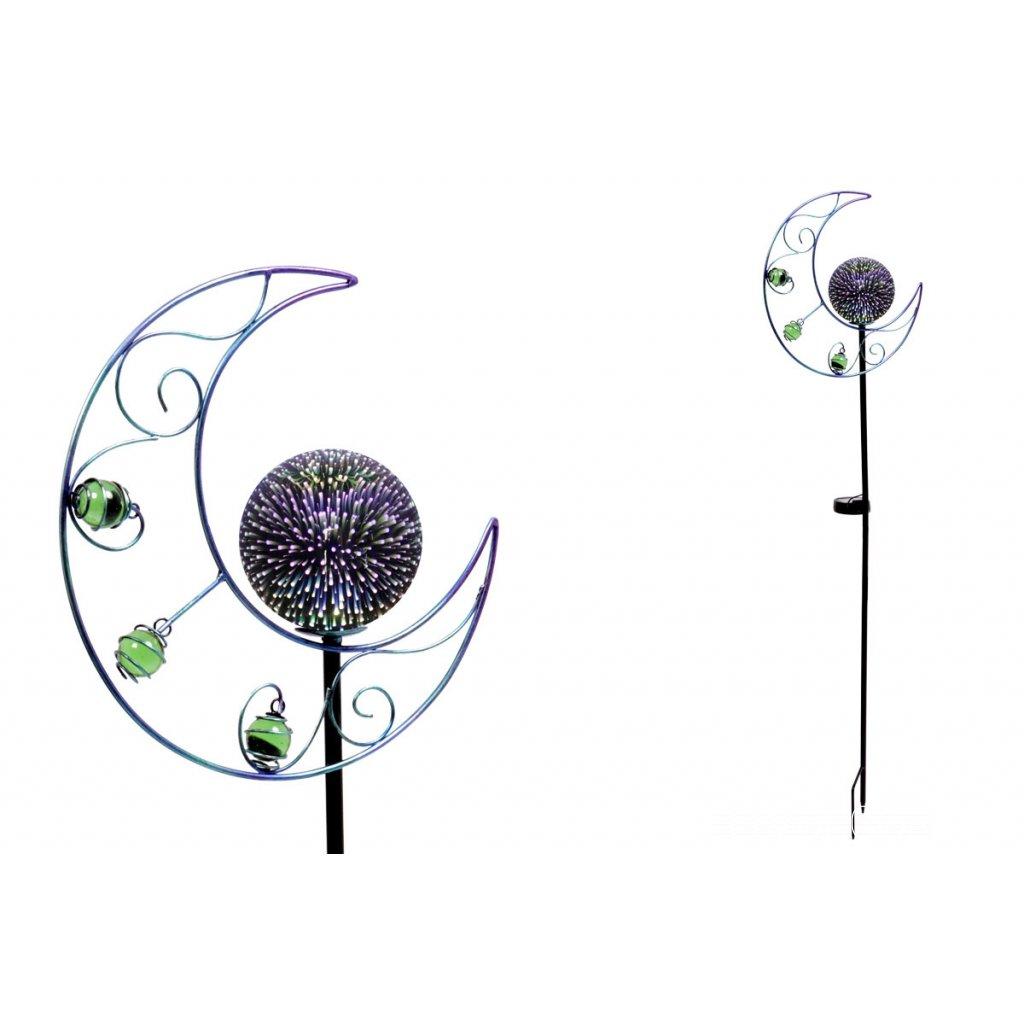 Mesiac s LED svetlom,kovová zahradná dekorácia,zápich (batéria na solárne dobíjanie),27x102x10 cm