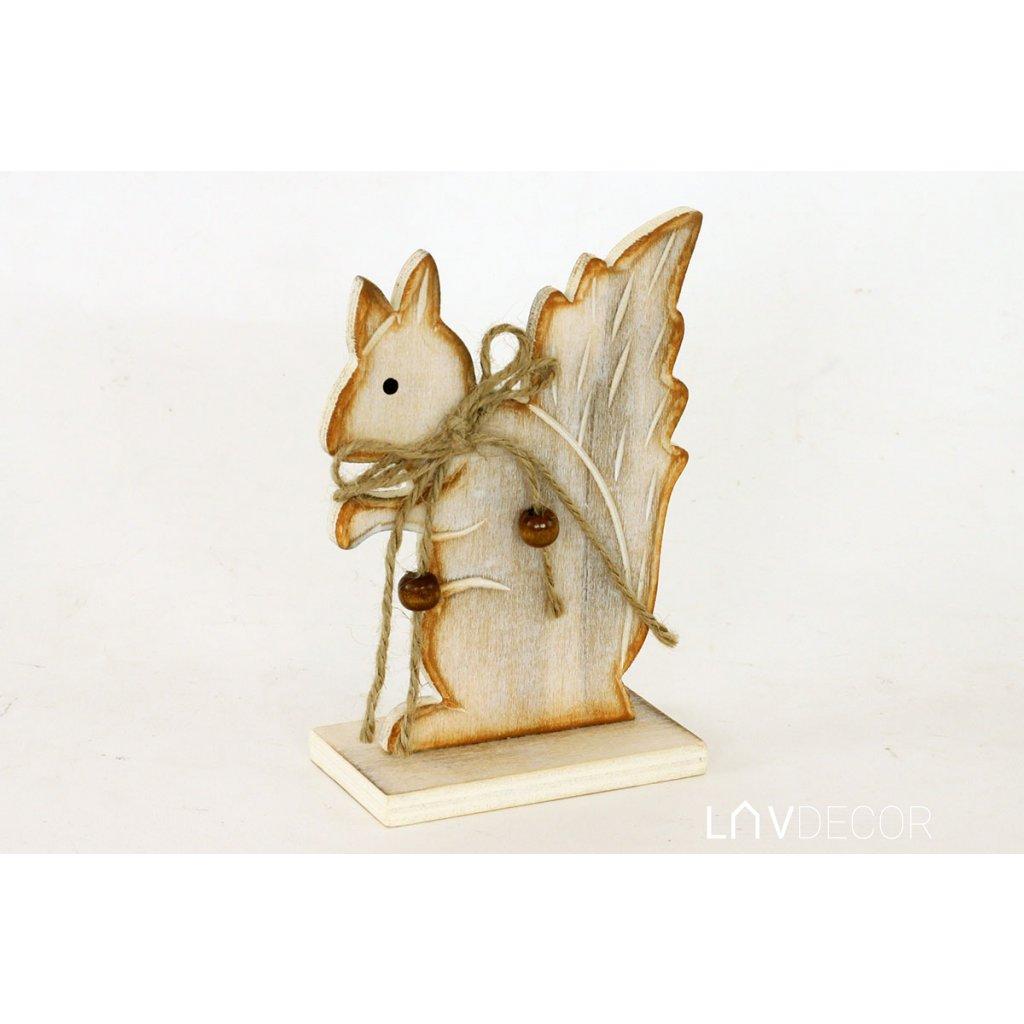 Veverička drevená biela patina 10x14cm