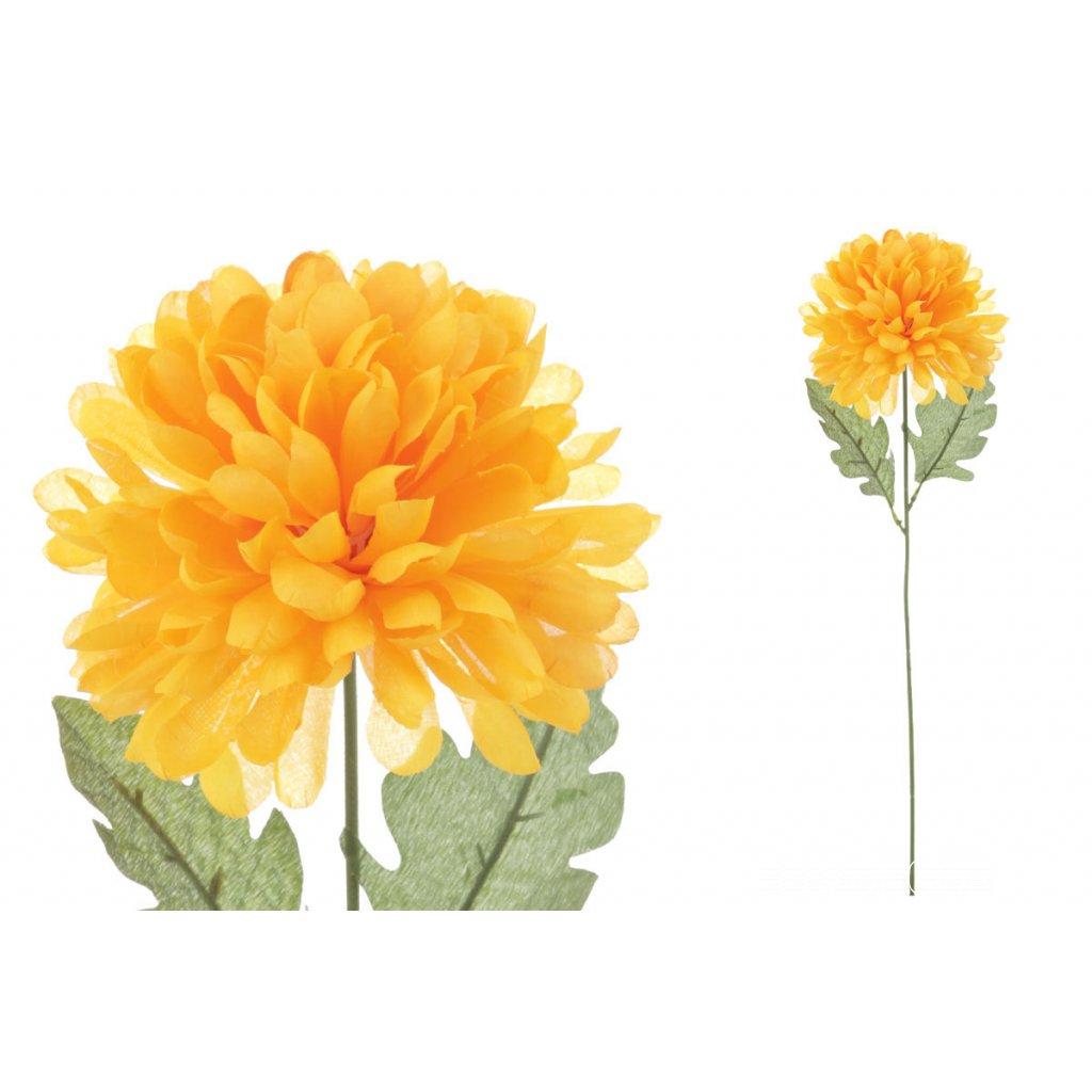 Chryzantéma jednohlavá, žltá umelý kvet 75cm