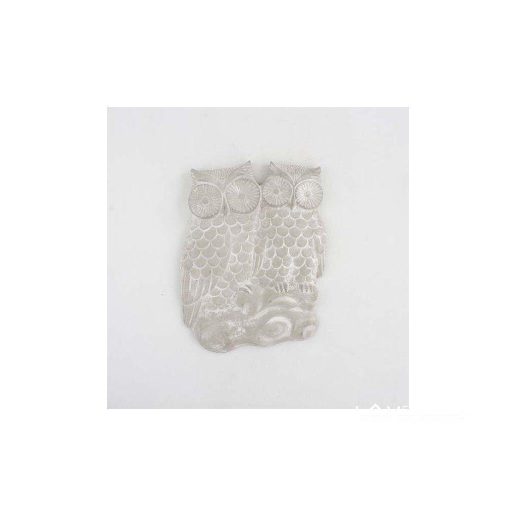 Betónová závesná sova 24 × 30,5 × 3 cm