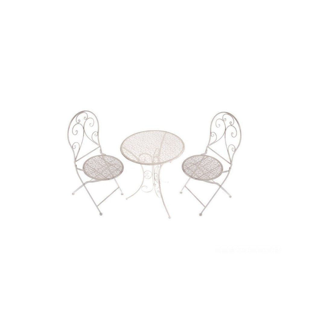 kovový stôl + 2 stoličky set biely