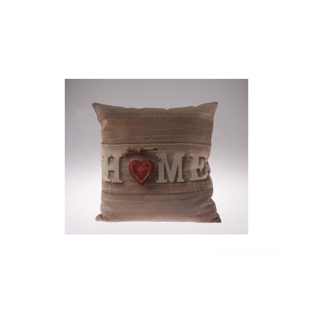 obliečka na vankúš home so srdiečkom hnedý 40 × 40 cm