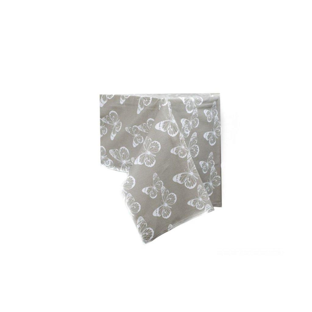 obrus na stôl motýľ šedý umývateľný,145 × 180 cm