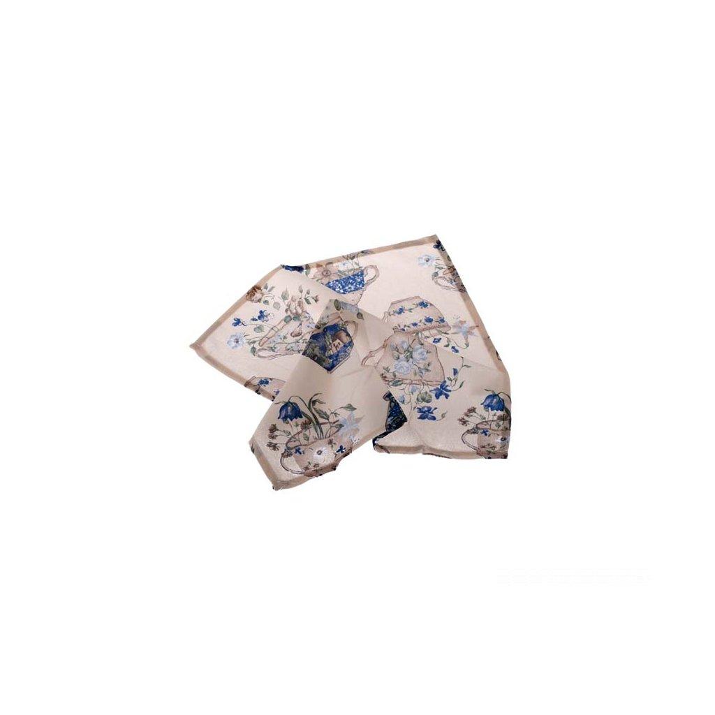 prestieranie šálky s kvietkami modré 40 × 40 cm