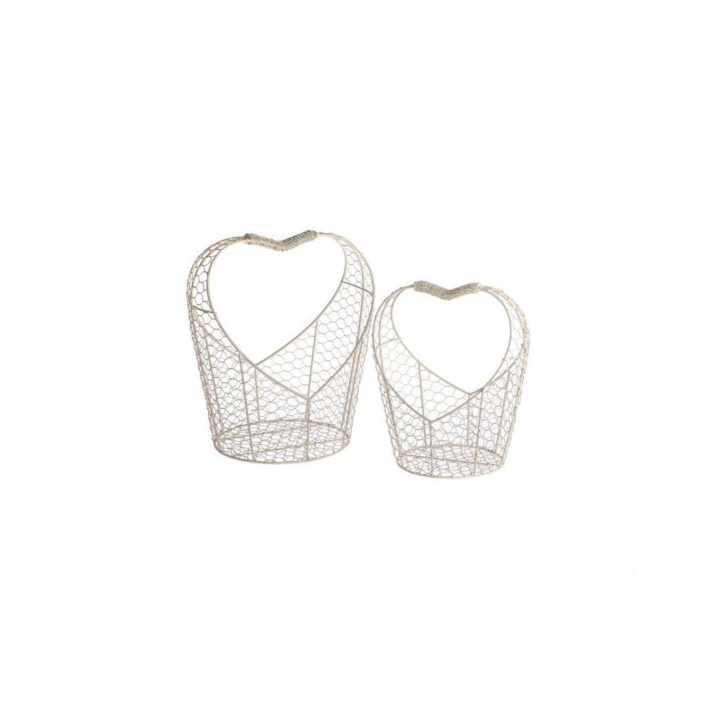 košíky v tvare srdiečka drôtené biele cena za 2ks 27×30×21,5/21×25×16,5cm