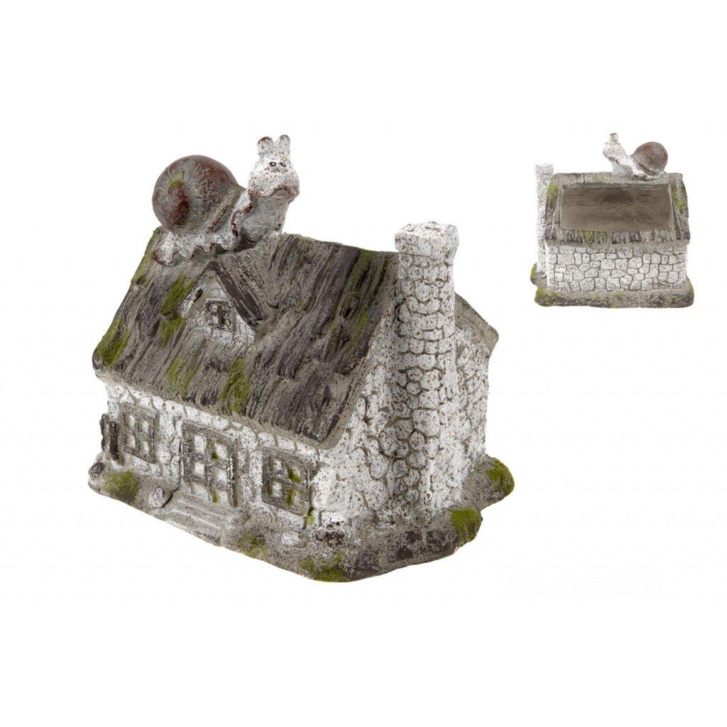 Domček so slimáčikom,dekorácia z MgO keramiky 30,5x27,5x23 cm