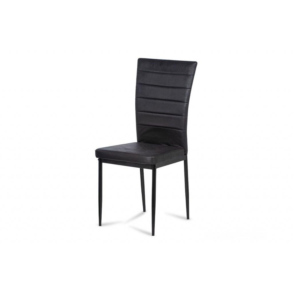 jedálenská stolička, čierna látka zamat, kov čierny mat