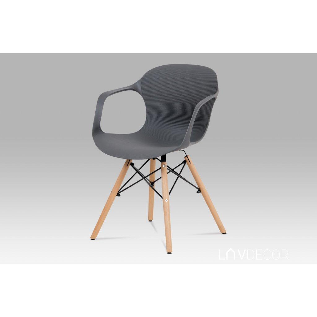 jedálenská stolička, štrukturovaný plast šedý, natural