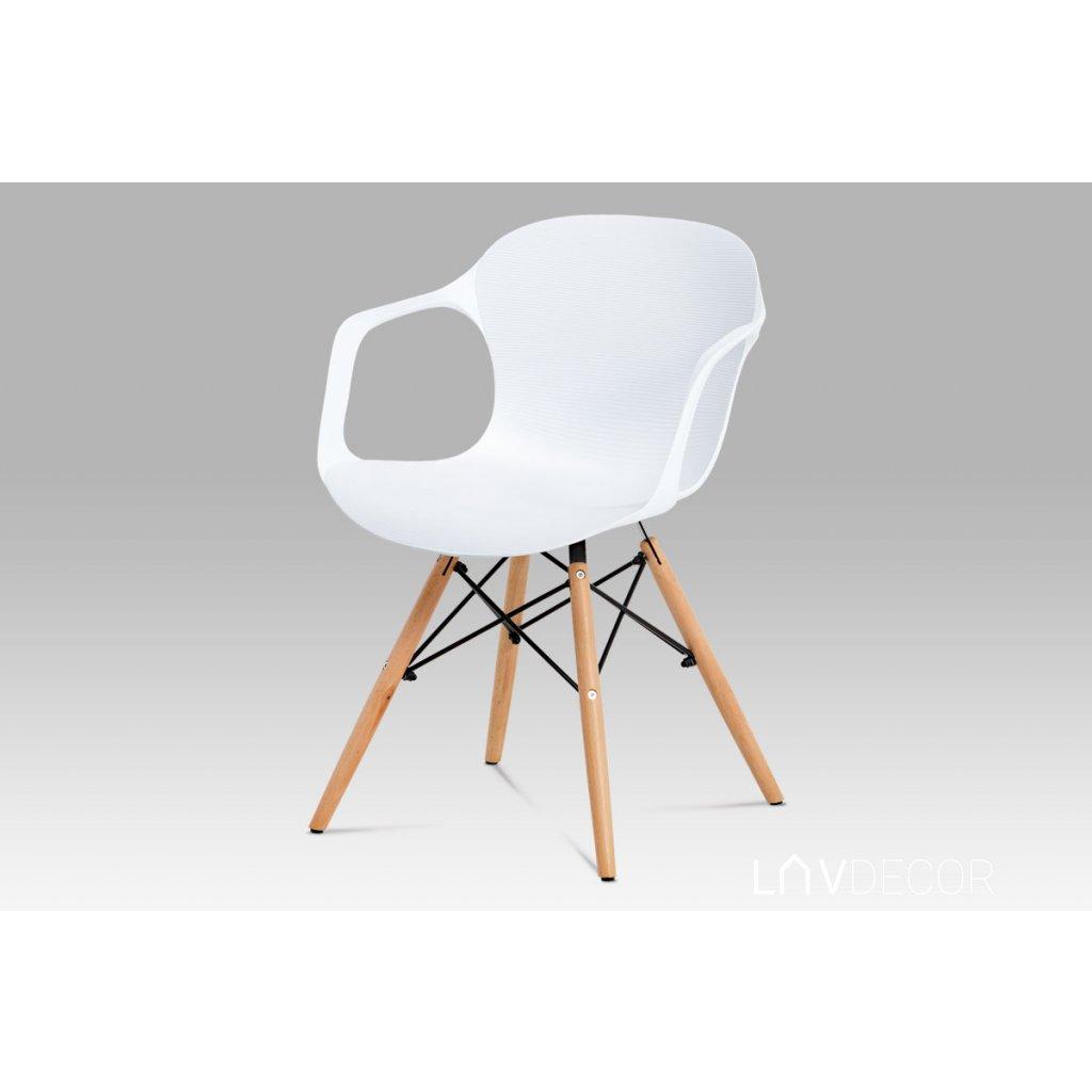 jedálenská stolička, štrukturovaný plast biely, natural