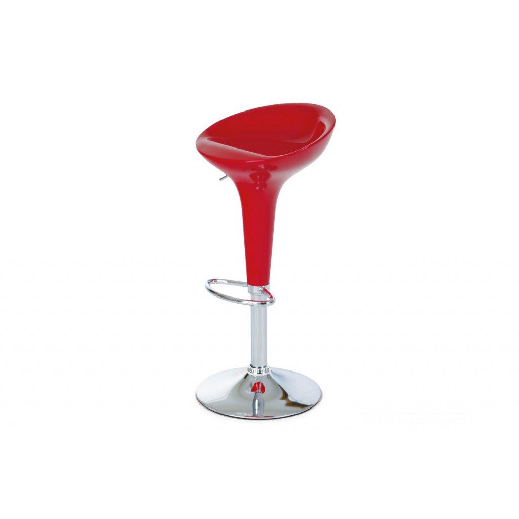 barová stolička, plast červený/chróm