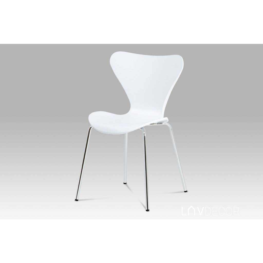 jedálenská stolička biela, chróm